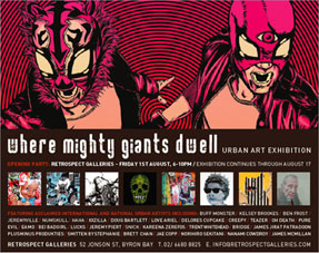 where mighty giants dwell urban art exhibition promo flyer